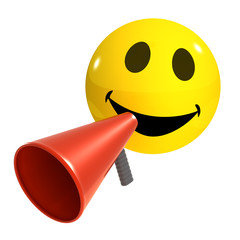 3d Smiley yells thourgh a megaphone