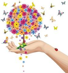 Mano Con Albero Primavera-Hand Holding a Springtime Tree-Vector
