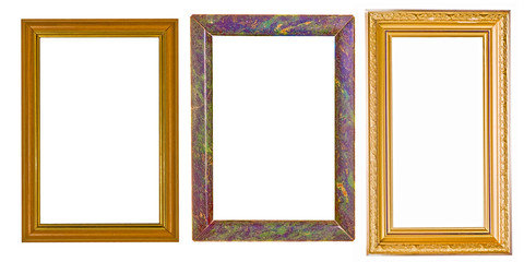 three frames isolated on white