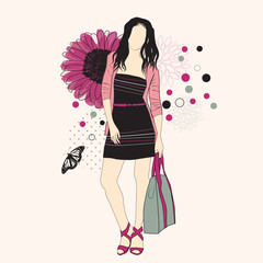 Fotobehang Bloemen vrouw Fashion girl on a floral background