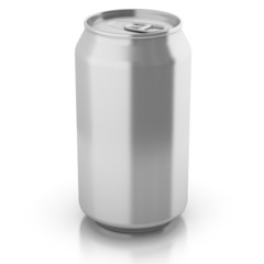blank aluminium can isolated on a white background