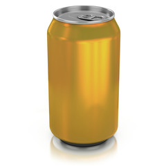 golden aluminium can on a white background