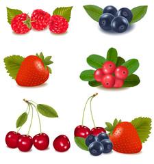 Cranberries, blueberries, cherries, raspberries