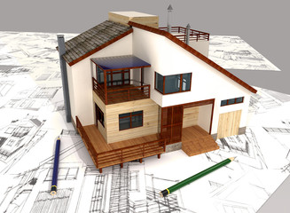 3d house and pencil sketches