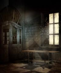 Stary pokój z zakurzonym stołem