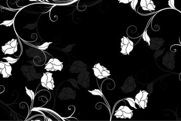 floral noir et blanc