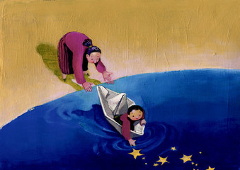 children and migration surreal painting mother who pushes the child to life the dream and the world