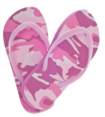 Feminine Camouflage Flip Flop Sandals in Heart Shape
