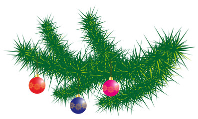 Spruce branch with decorations