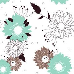 Flowers seamless retro pattern