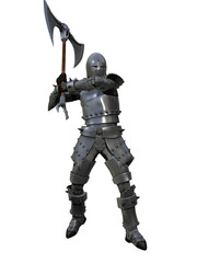 Armoured medieval knight brandishing war axe