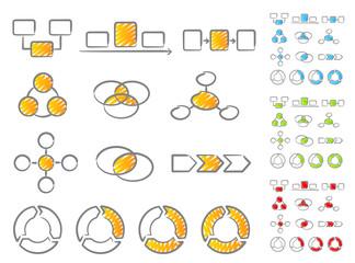 Diagrams icon set handwritten