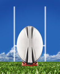Wall Mural - Rugby ball on field with goal posts