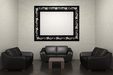 room with sofa and picture frame