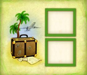Photo frames with travel illustration
