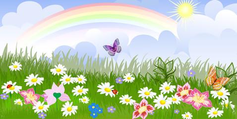 Keuken foto achterwand Vlinders Panorama floral lawn