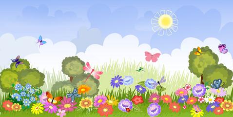 Zelfklevend Fotobehang Vlinders Panorama floral lawn
