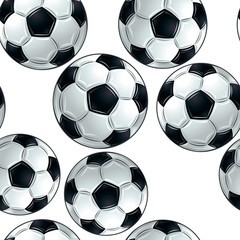 Vector soccer balls seamless pattern.