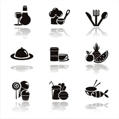 set of 9 black restaurant icons