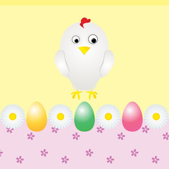 chicken eggs and flowers greeting card