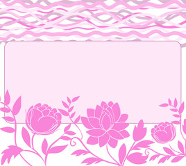 frame with stylized pink flowers and waves