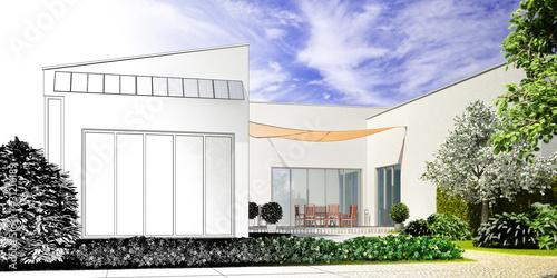 Moderne Landhaus Architektur Zeichnung Stock Photo And
