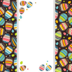 Vertical easter greeting card with painted eggs