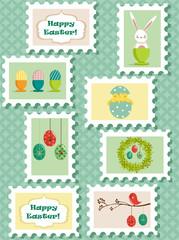 Easter postal stamps set, vector illustration