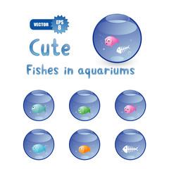 cute cartoon fishes in aquariums