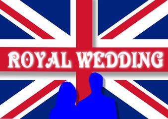 royal wedding with UK flag. vector image
