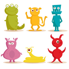 Door stickers Creatures Cute monsters , vector illustration