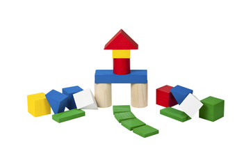 Home of wooden blocks after the earthquake.