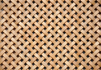 Wooden grid, the background of woven wood