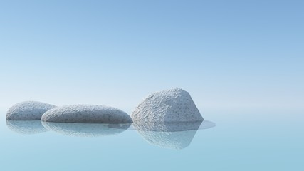 Drei einsame Steine im See