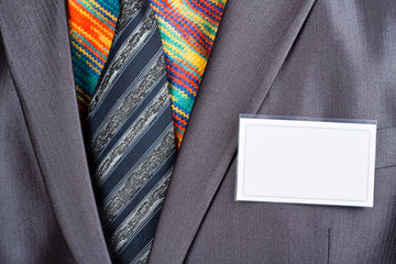 Fotobehang - Businessman in grey suit and colorful shirt