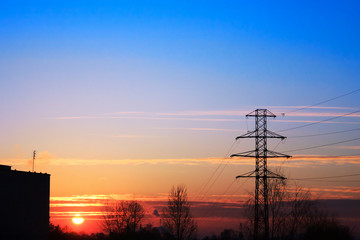 Electrical power at sunset