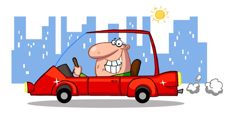 Grinning Man Driving A Red Car In The City