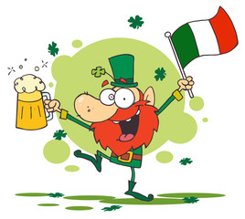 Dancing Drunk Leprechuan With Beer And A Flag