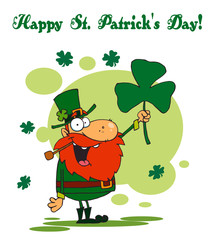 Happy St  Greeting Of A Leprechaun Holding A Clover
