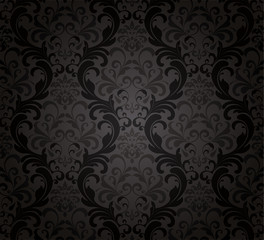 Seamless Damask Black Wallpaper.