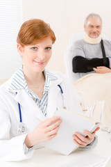 Doctor office - female physician book patient