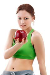 woman in sportswear with apple