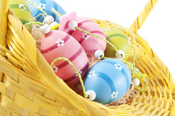 easter decorated eggs in a basket