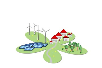 Ökostrom Wind-und Solarenegie Logo Grafik