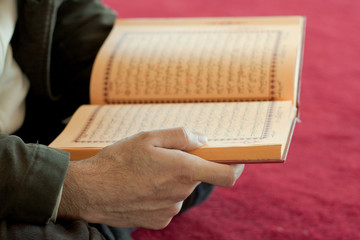 Man's hands holding a quran