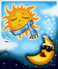 Printed roller blinds Heaven Il sole sulla luna