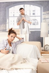 Young couple getting ready in the morning