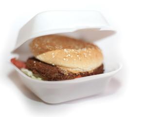 hamburger dans une boîte blanche