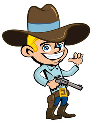 Foto op Plexiglas Wild West Cartoon cowboy with sixguns