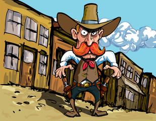Aluminium Prints Wild West Cartoon cowboy with sixguns